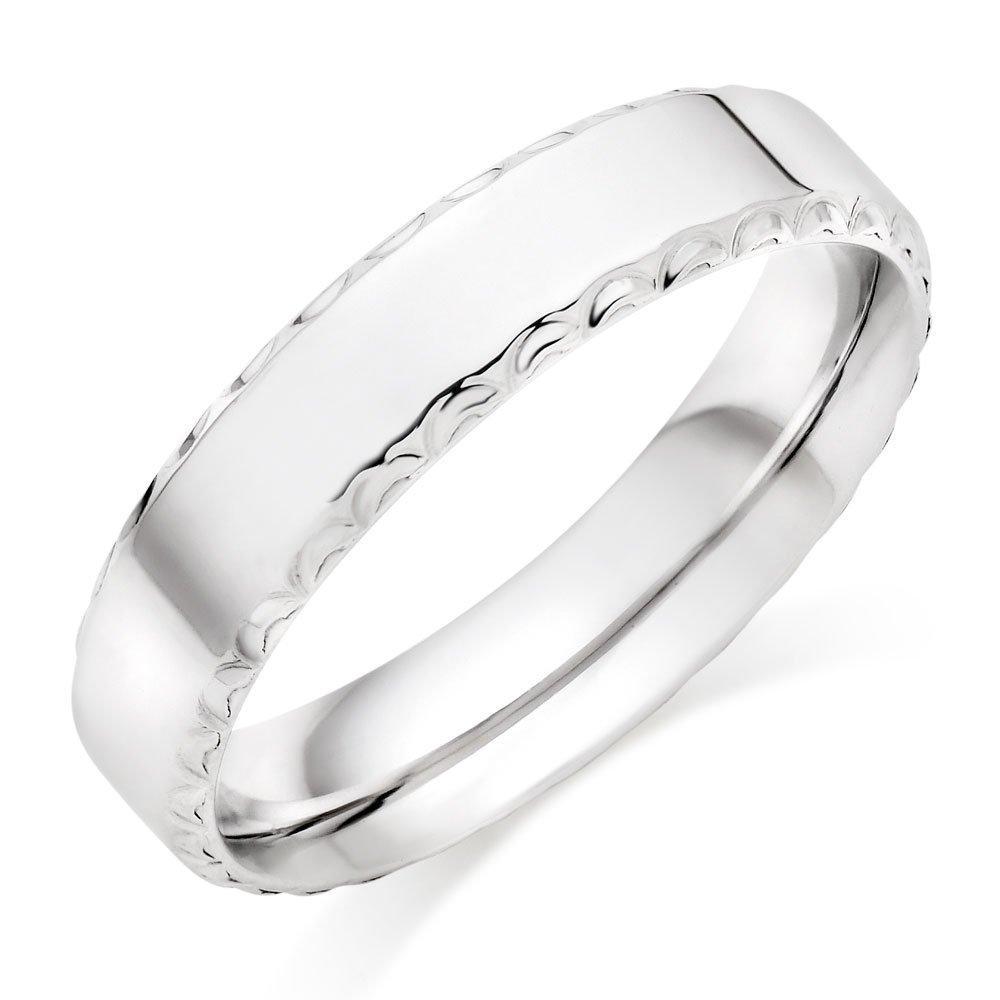 9ct White Gold Fancy Men's Wedding Ring