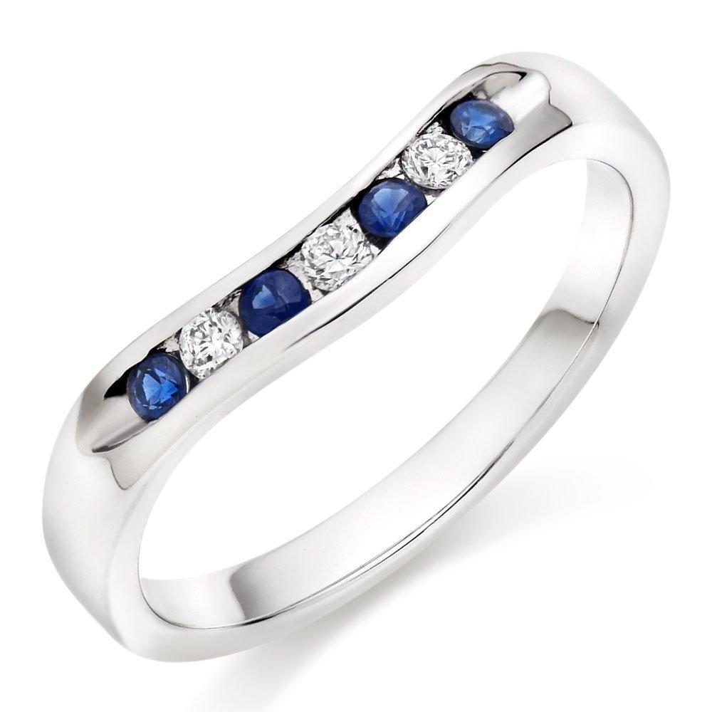 18ct White Gold Diamond Sapphire Wedding Ring