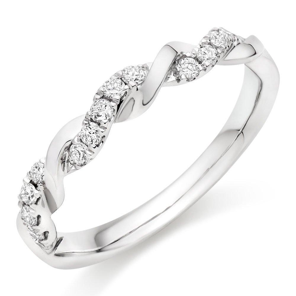 Entwine Platinum Diamond Twist Wedding Ring
