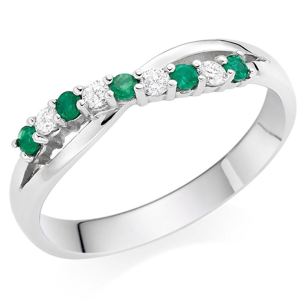18ct White Gold Diamond Emerald Wedding Ring