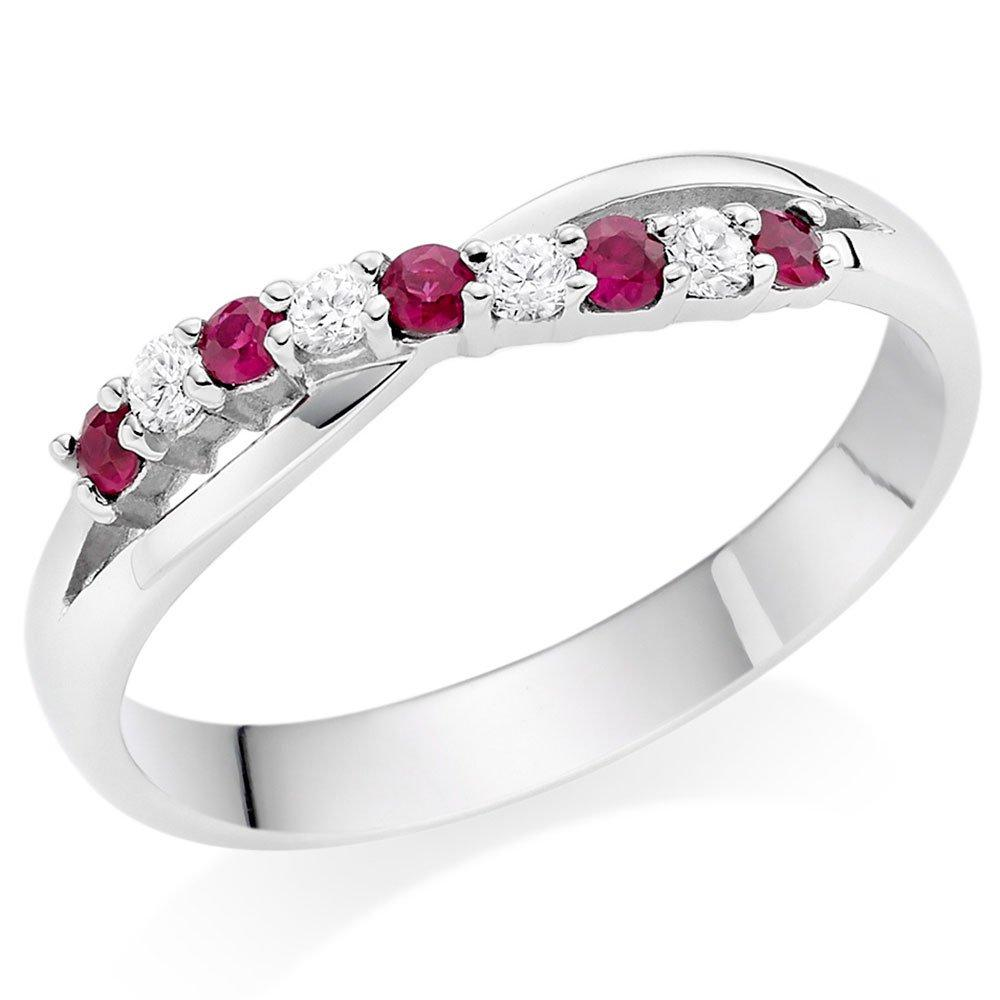 18ct White Gold Diamond Ruby Wedding Ring