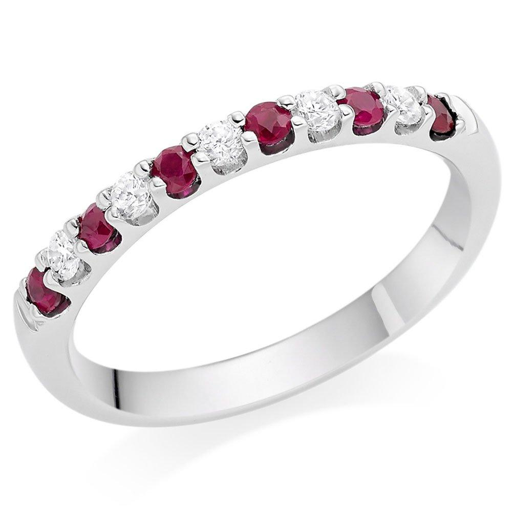 18ct White Gold Ruby and Diamond Wedding Ring