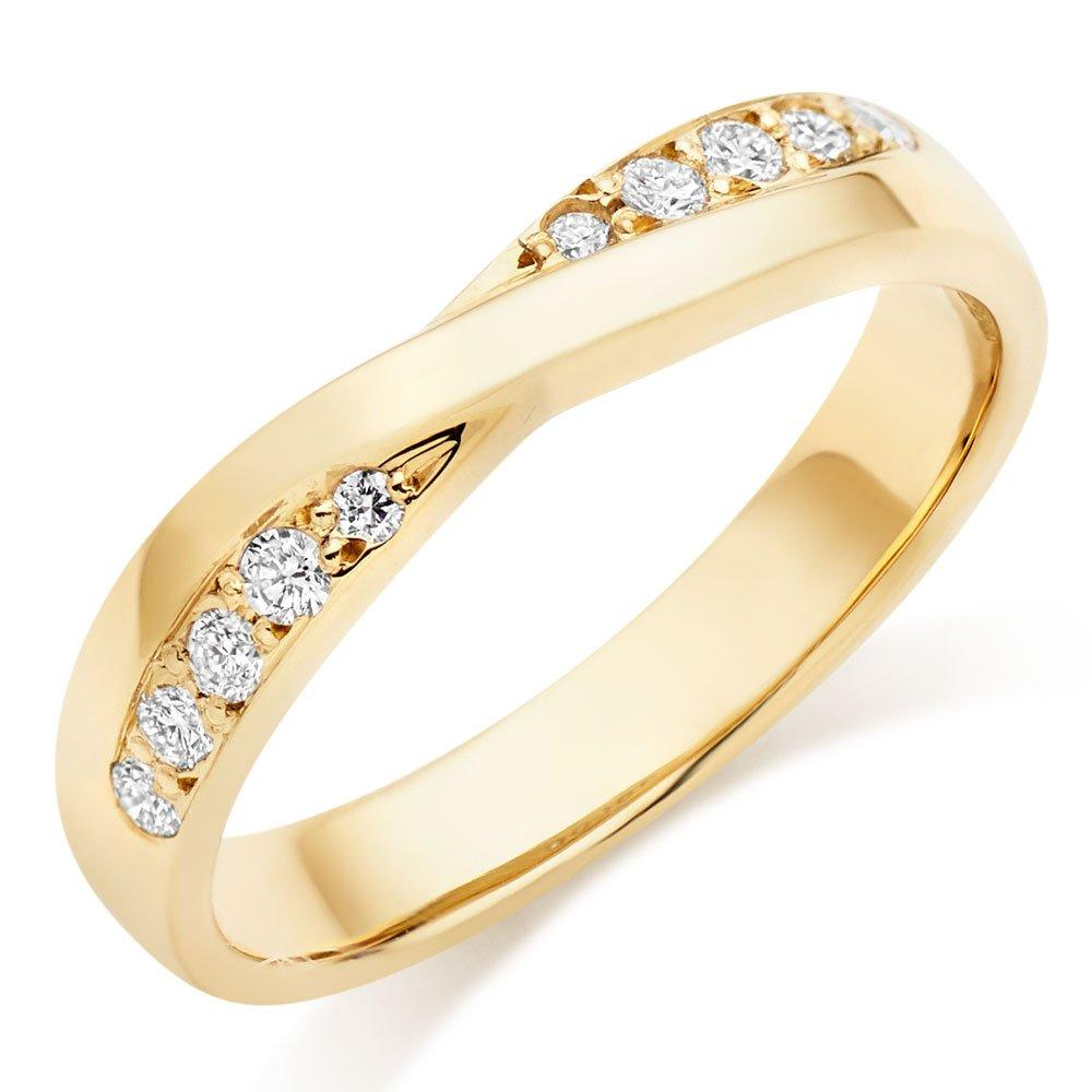 18ct Gold Diamond Twist Wedding Ring