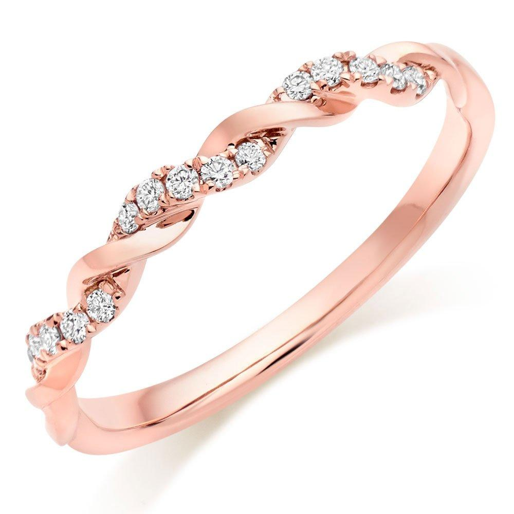 Entwine 18ct Rose Gold Diamond Twist Wedding Ring