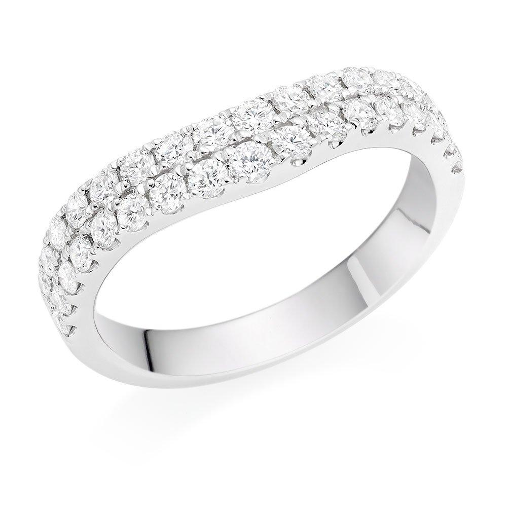 Platinum Diamond Double Row Diamond Wedding Ring