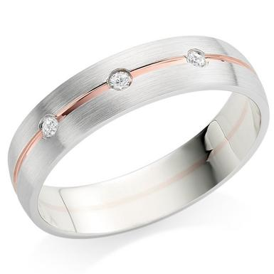 9ct White Gold and Rose Gold Diamond 5mm Men's Wedding Ring