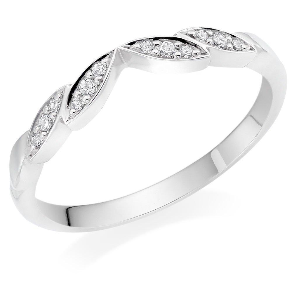 18ct White Gold Diamond Shaped Wedding Ring