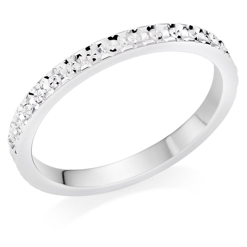 9ct White Gold Sparkle Cut Wedding Ring