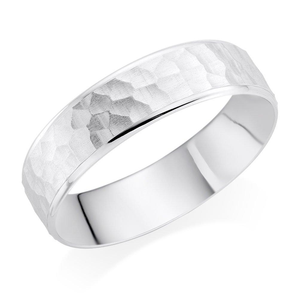 Men's Palladium Hammered Wedding Ring