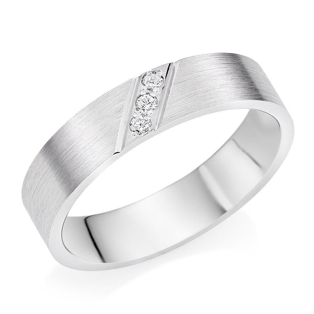 Men's 9ct White Gold Diamond Wedding Ring