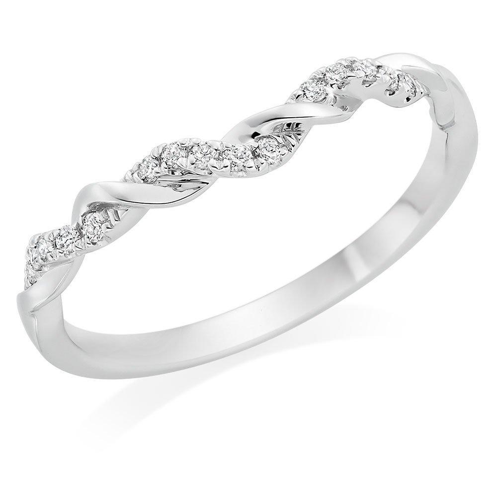 Entwine 18ct White Gold Diamond Twist Wedding Ring