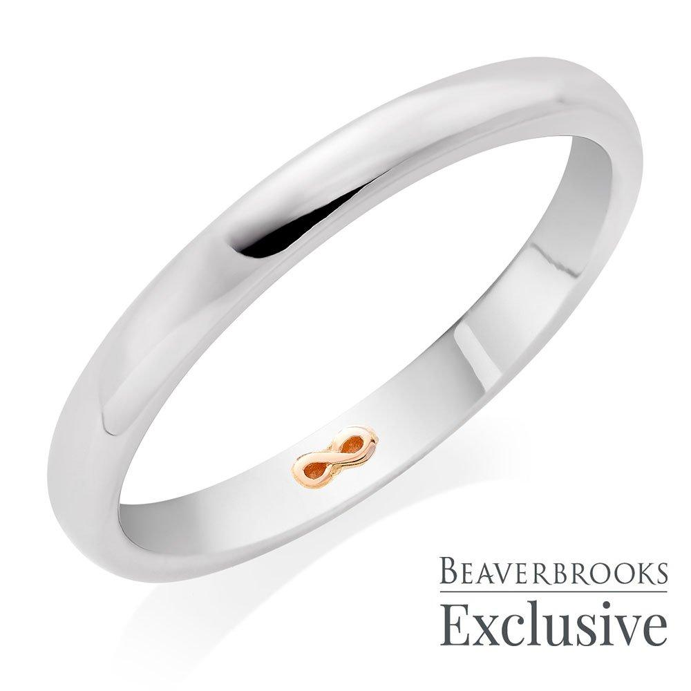 Beyond Brilliance 18ct White Gold and Rose Gold Infinity Ladies Wedding Ring