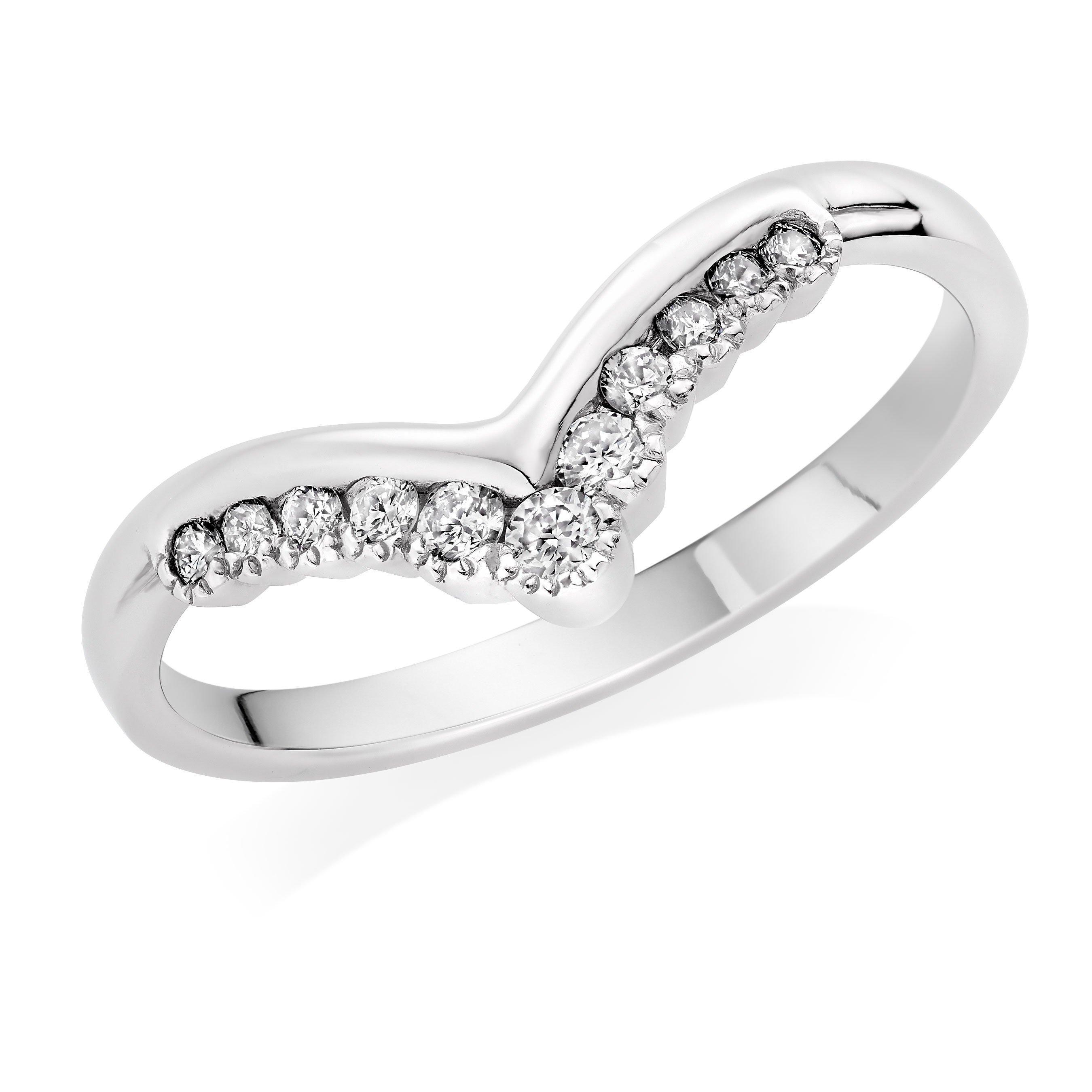 Platinum Diamond Wishbone Wedding Ring