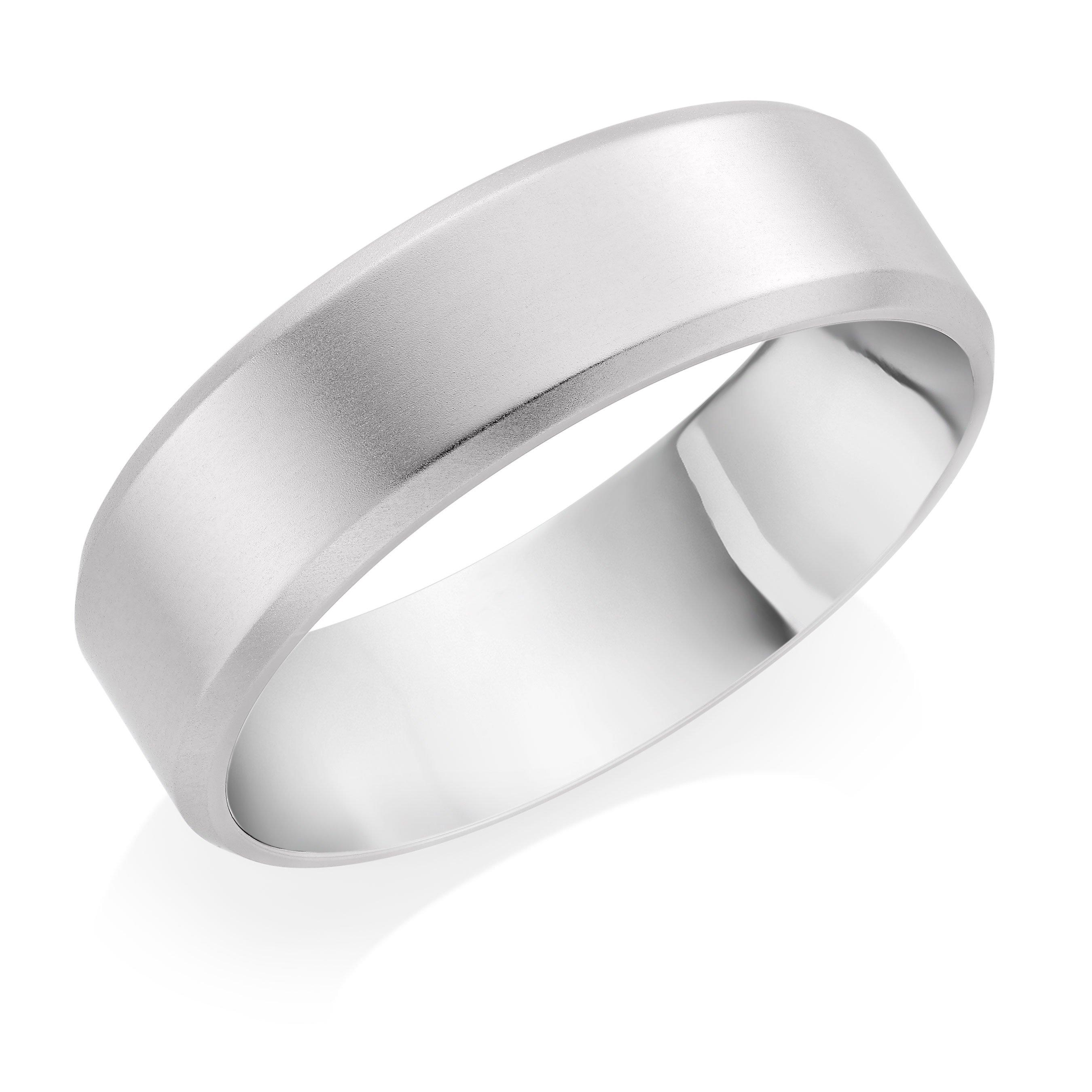 Platinum Bevel Edged Matt Wedding Band