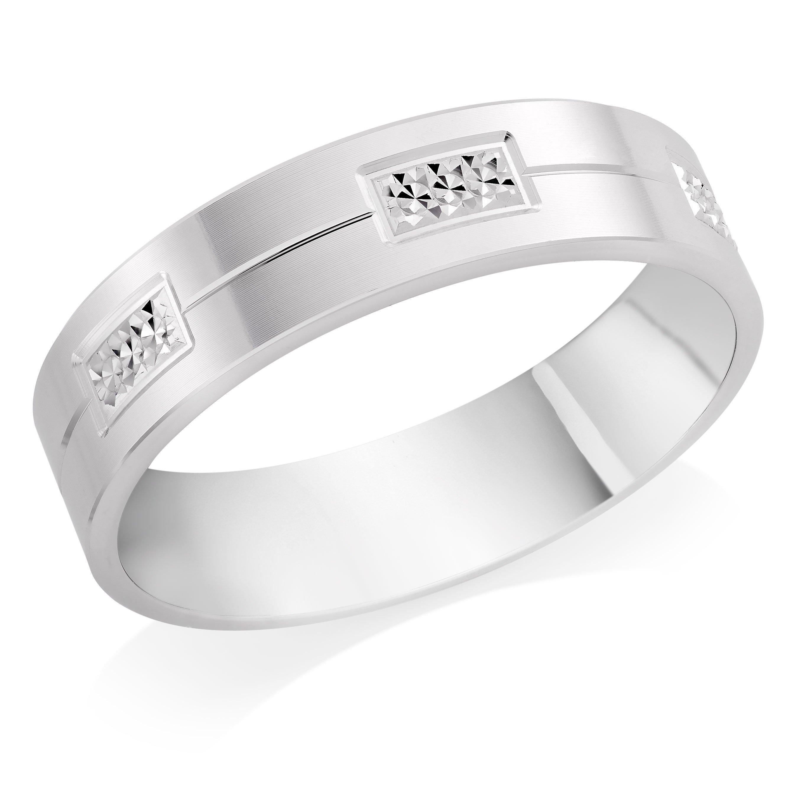 9ct White Gold Sparkle Cut Men's Wedding Ring