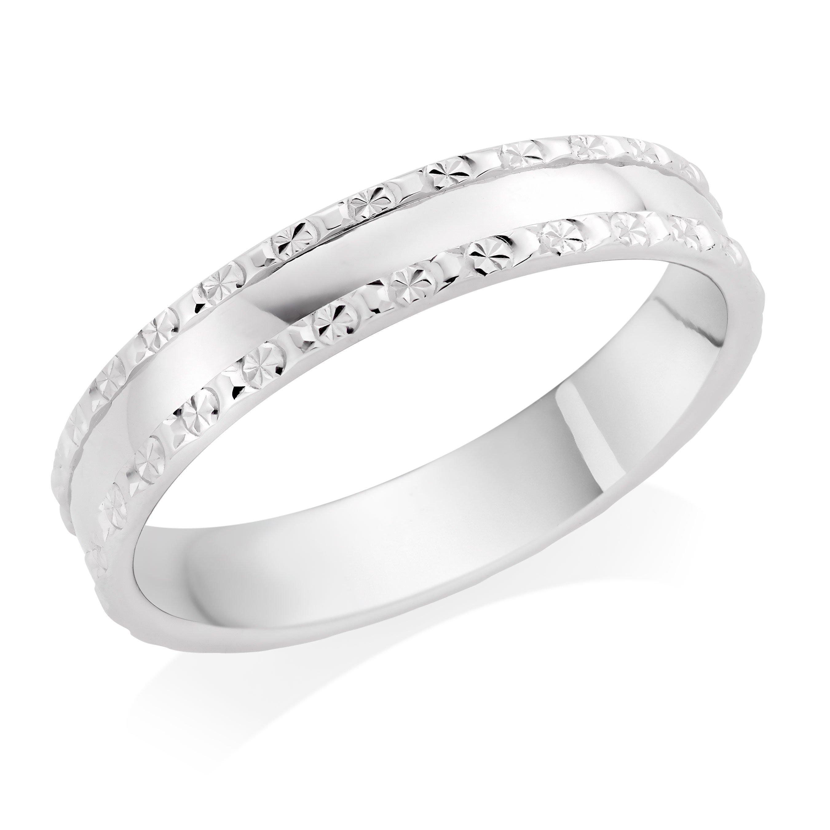 9ct White Gold Sparkle Edge Wedding Ring