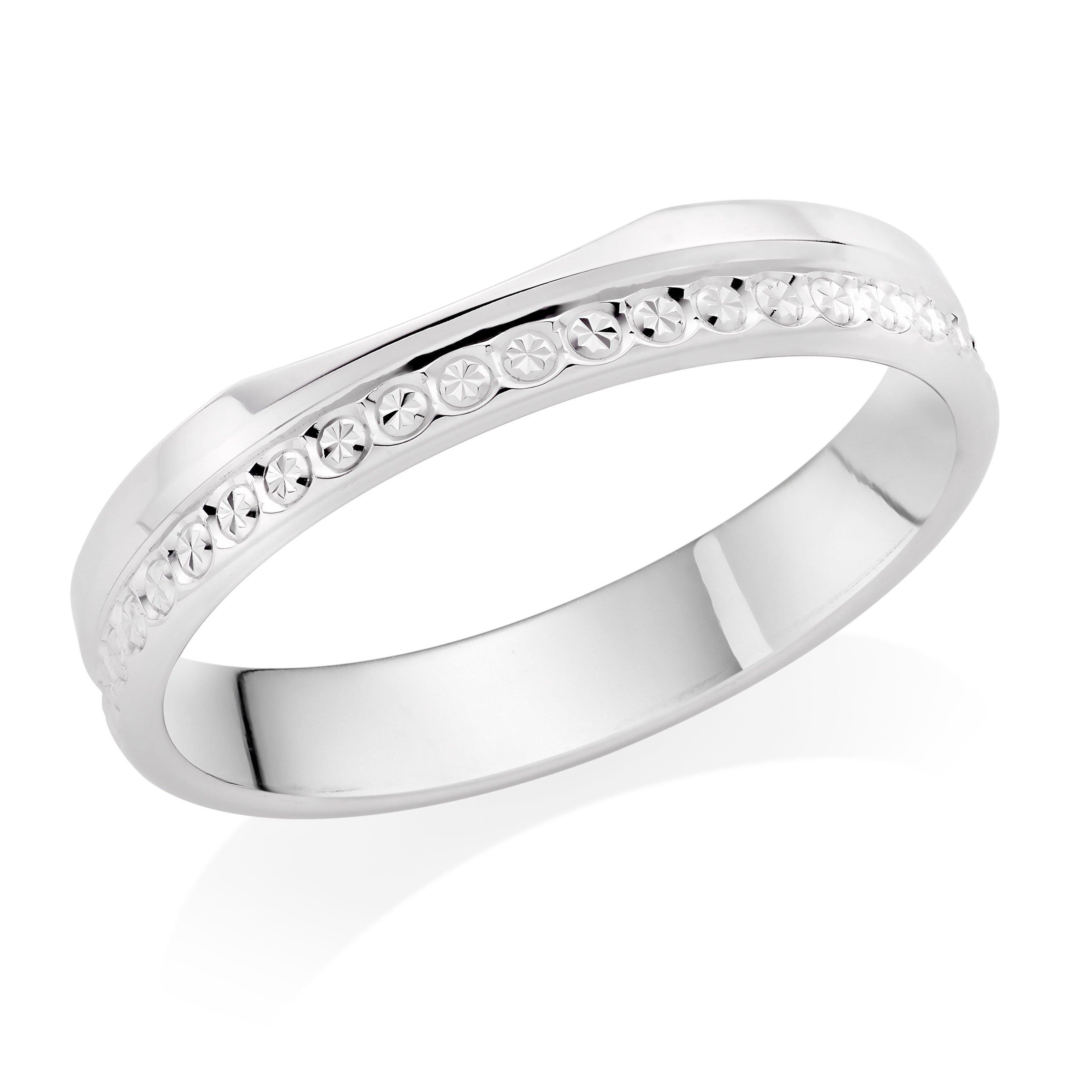 9ct White Gold Shaped Sparkle Edge Wedding Ring