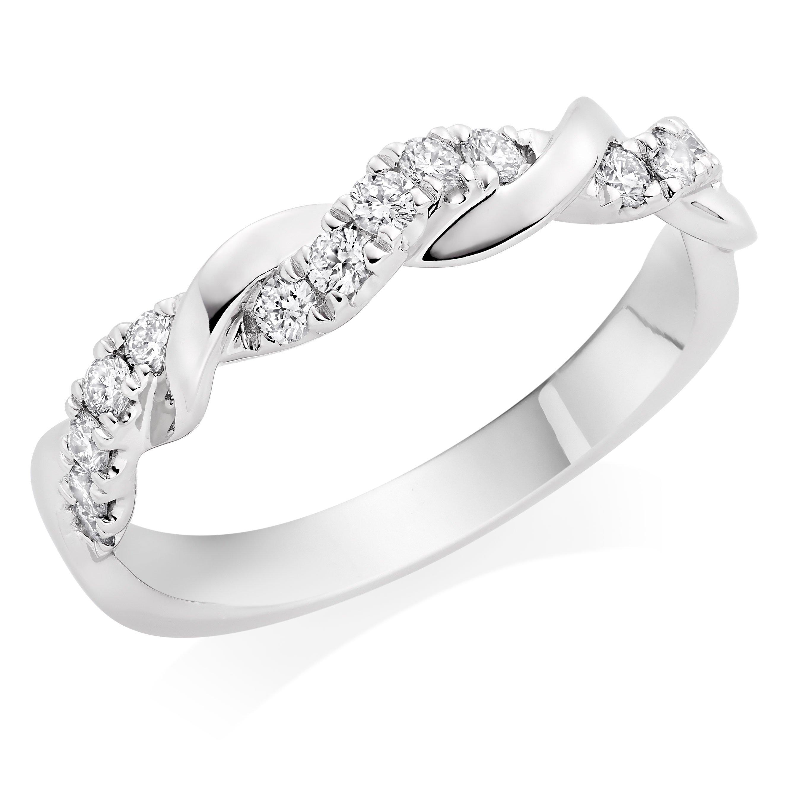 Entwine Platinum Diamond Twist Wedding Ring