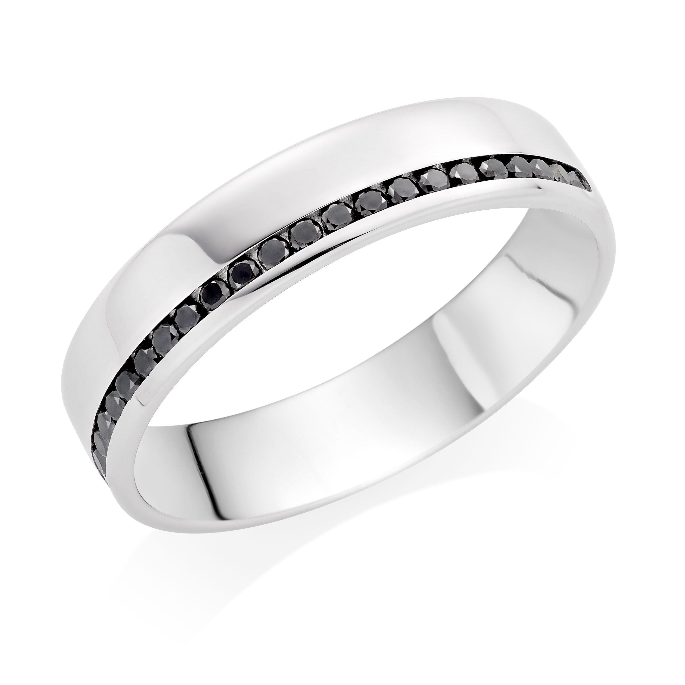 Platinum Black Diamond Men's Wedding Ring
