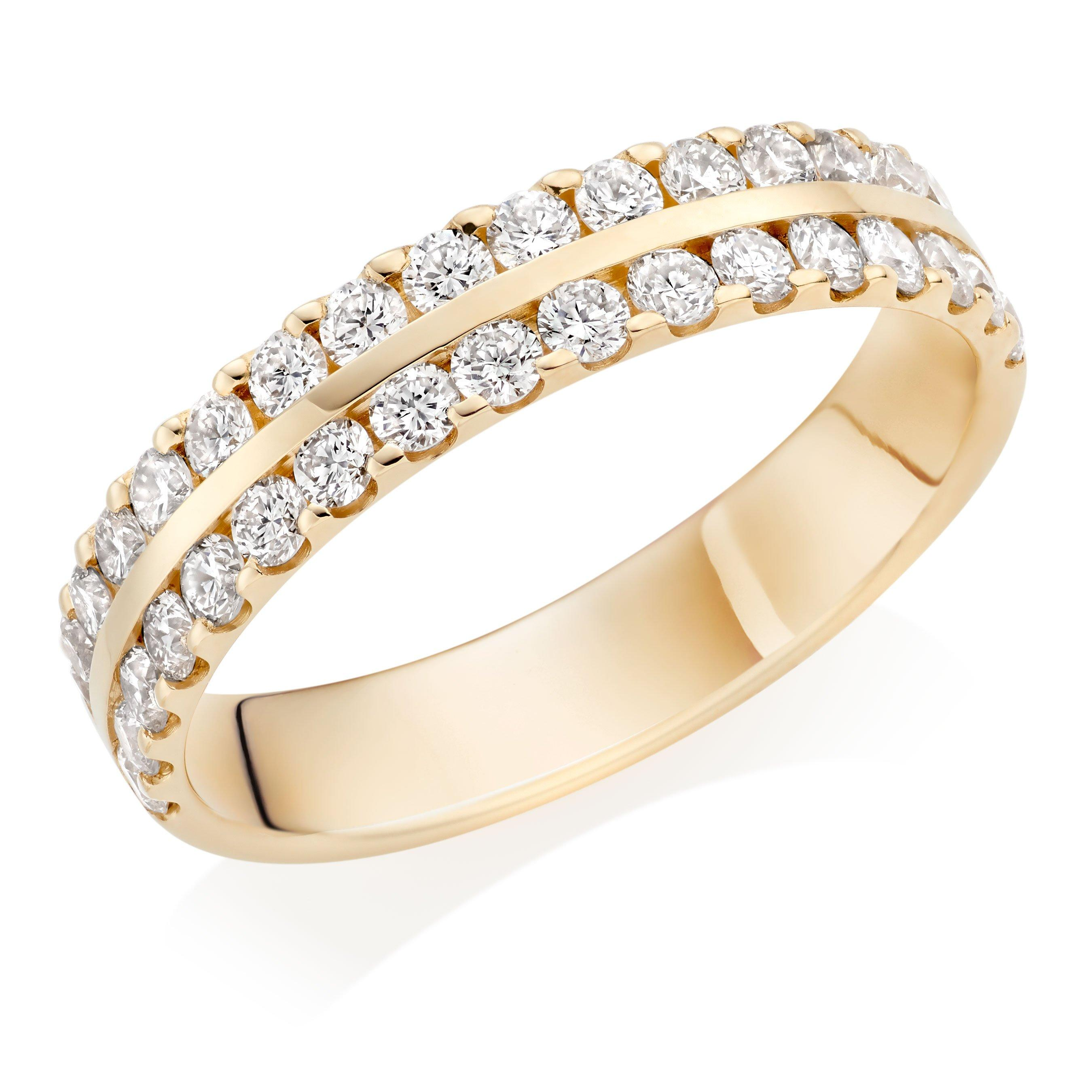 18ct Gold Diamond Double Row Wedding Ring
