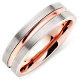Platinum and 18ct Rose Gold Matt Men's Wedding Ring