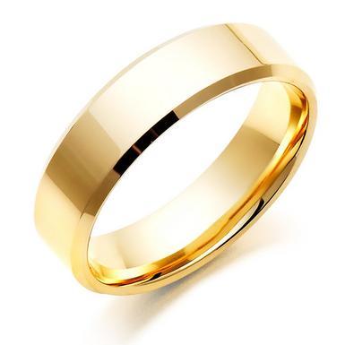Men's 9ct Gold Bevelled Edge Wedding Ring