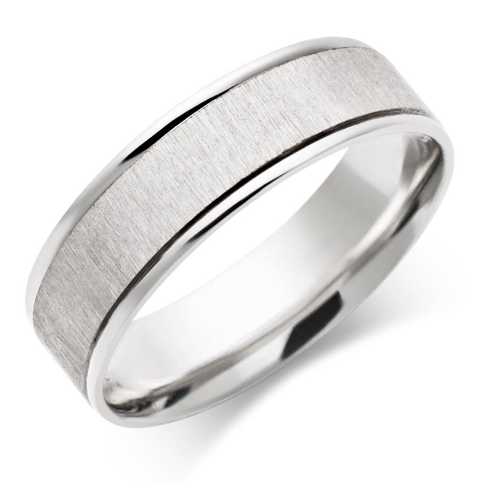9ct White Gold Brushed Men's Wedding Ring