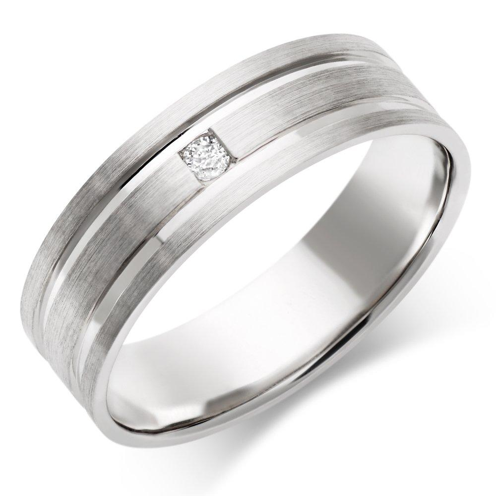Men's 9ct White Gold Diamond Wedding Ring