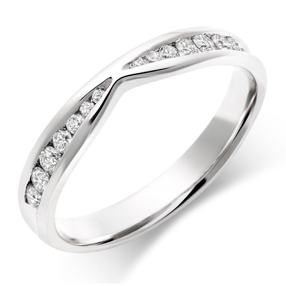 9ct White Gold Diamond Shaped Wedding Ring