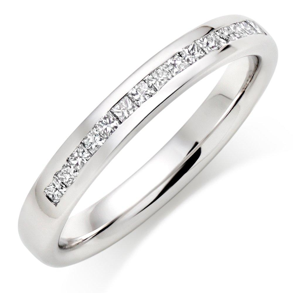 9ct White Gold Half Eternity Diamond Wedding Ring
