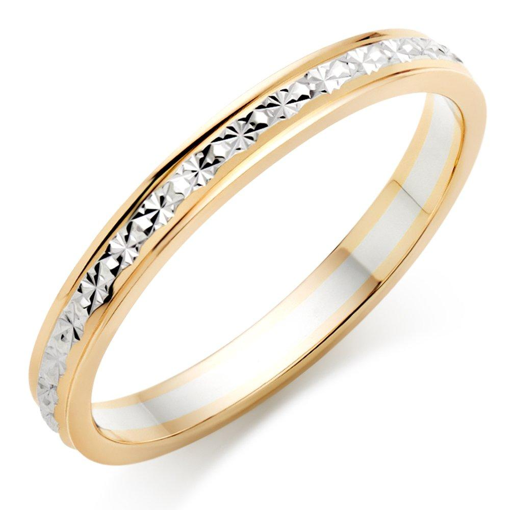 9ct Bi-Colour Gold Sparkle Cut Wedding Ring