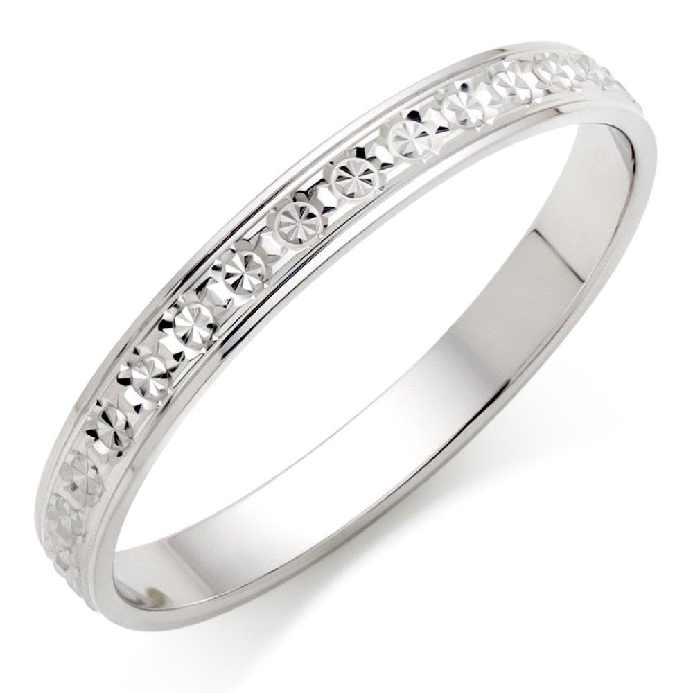 9ct White Gold Sparkle Wedding Ring