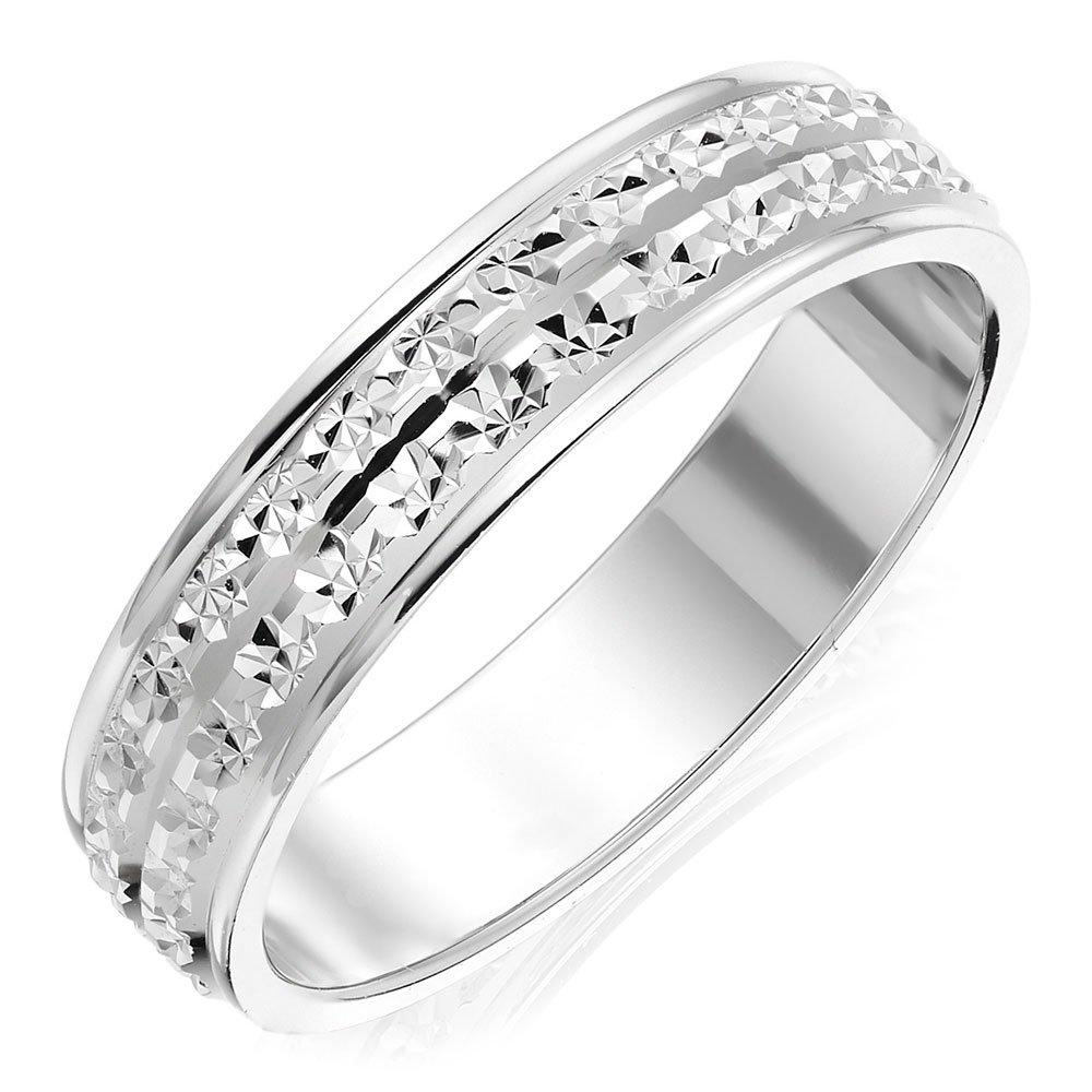 9ct White Gold Sparkle Cut Ladies Wedding Ring