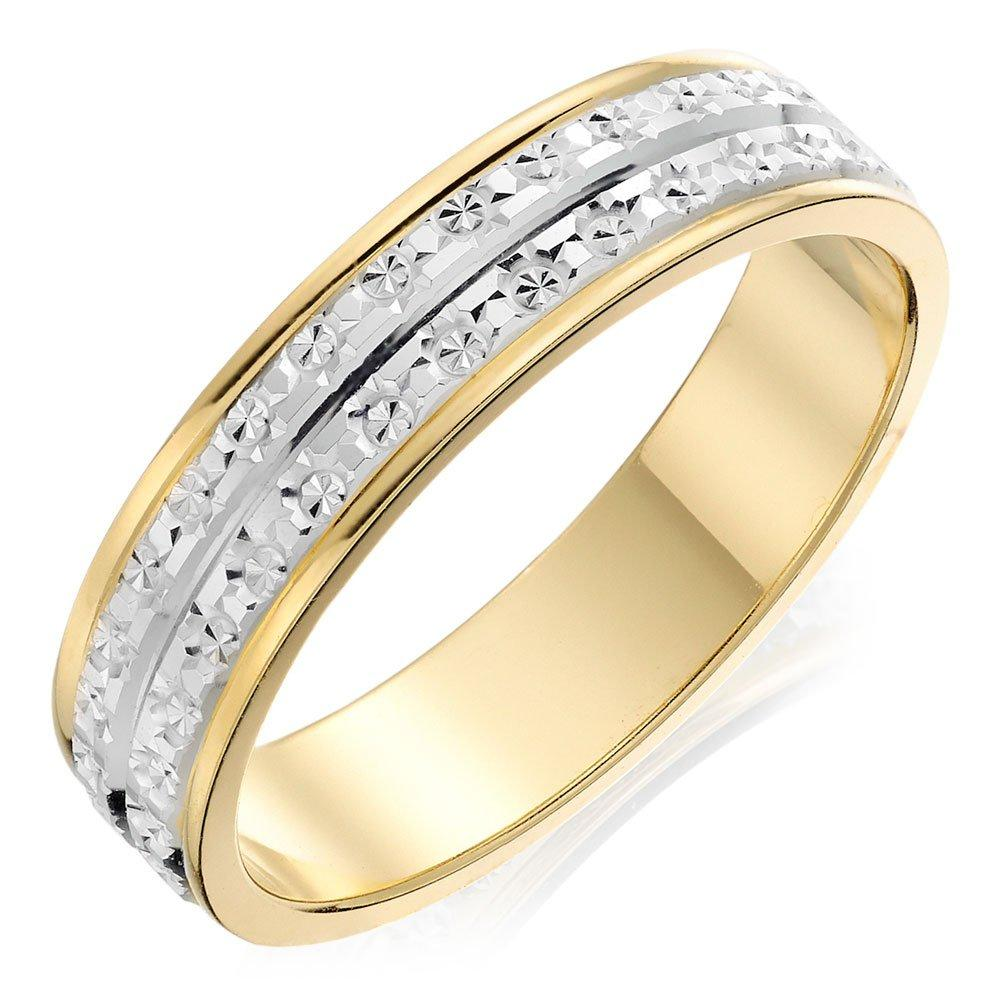 9ct Bi-colour Gold Sparkle Cut Ladies Wedding Ring
