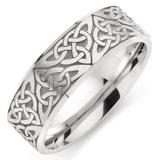 9ct White Gold Celtic Men's Wedding Ring