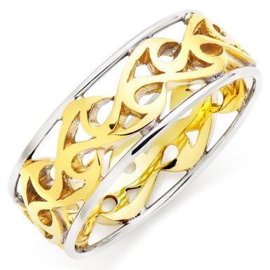 9ct Gold and White Gold Men's Wedding Ring