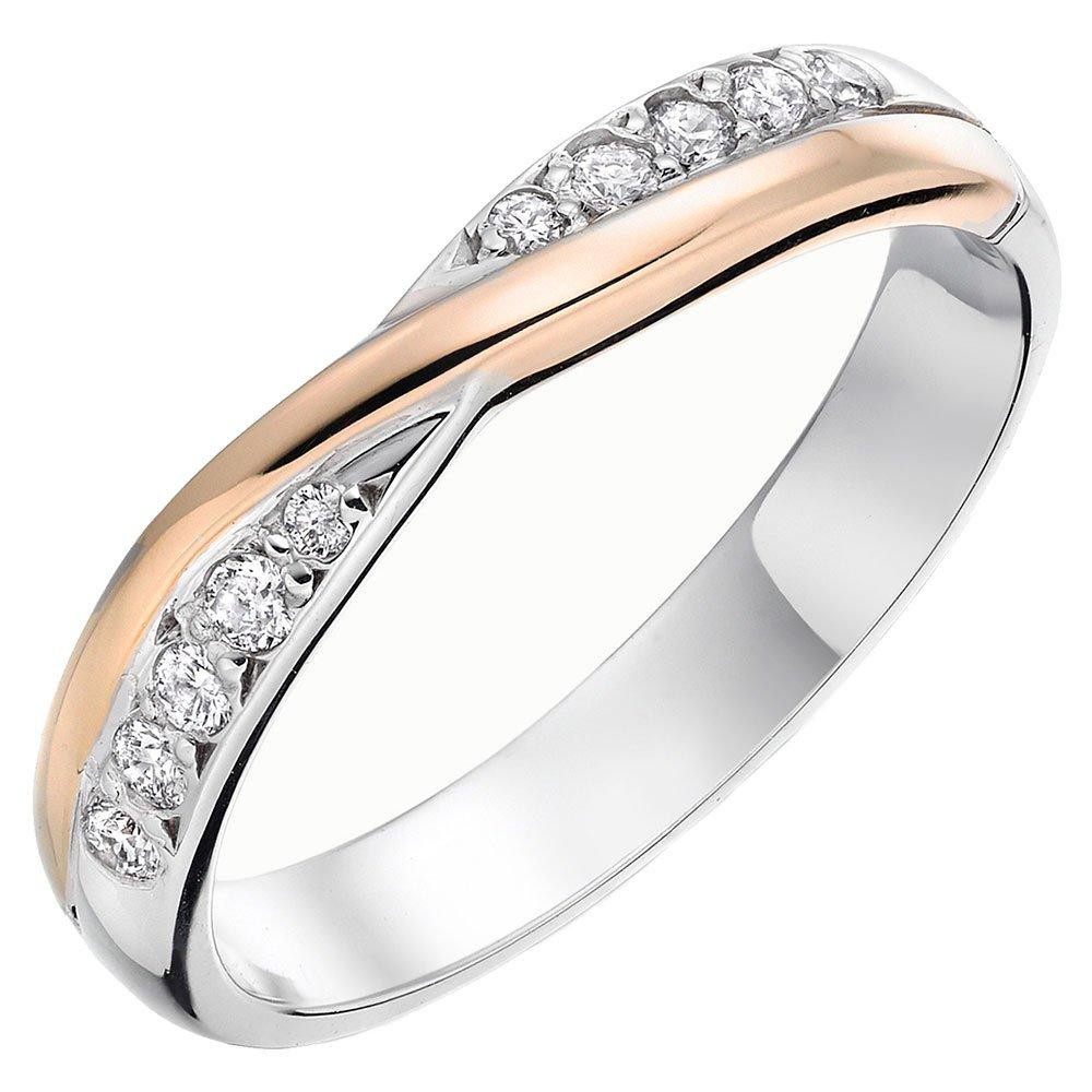 9ct White Gold and Rose Gold Diamond Ladies Wedding Ring