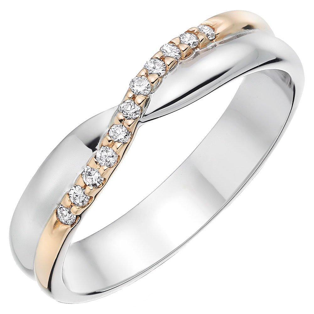 9ct White Gold and Rose Gold Diamond Ladies Wedding Ring