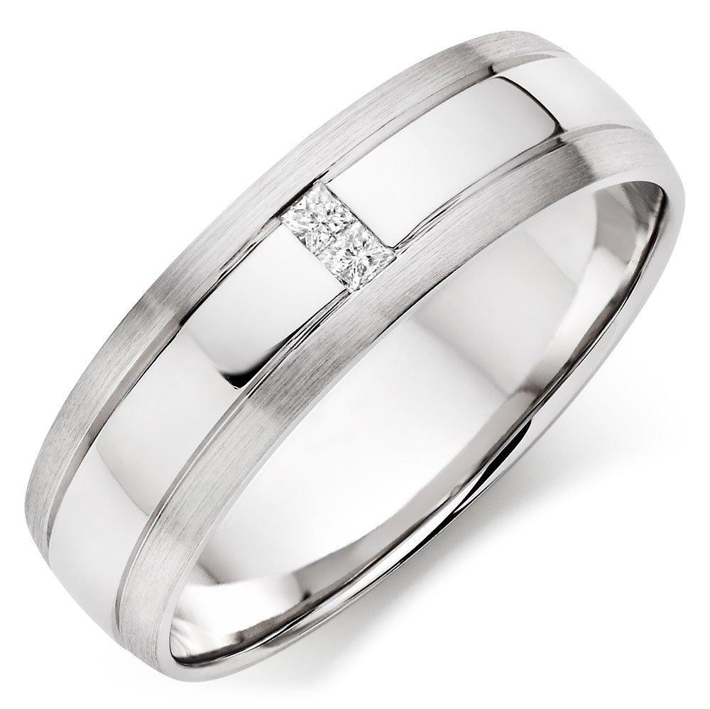 9ct White Gold Diamond Men's Wedding Ring