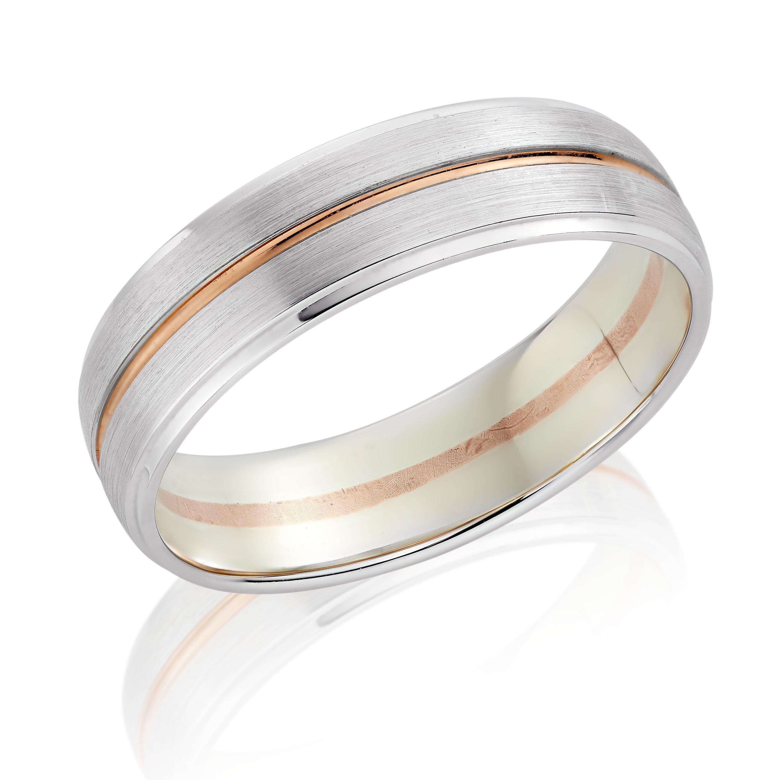 9ct White Gold and Rose Gold Men's Wedding Ring