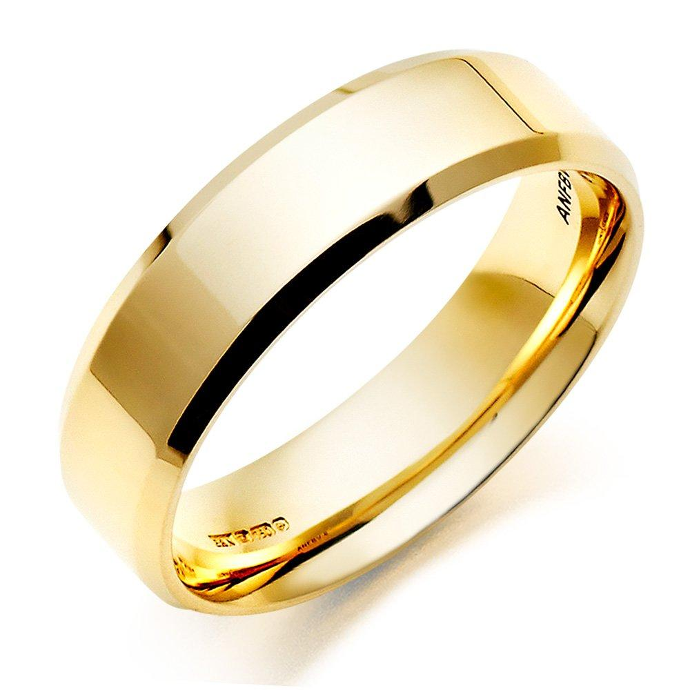 Men's 18ct Gold Bevelled Edge Wedding Ring