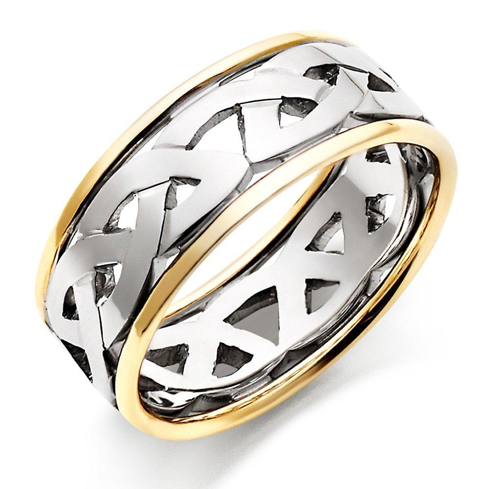 18ct Gold and White Gold Celtic Men's Wedding Ring