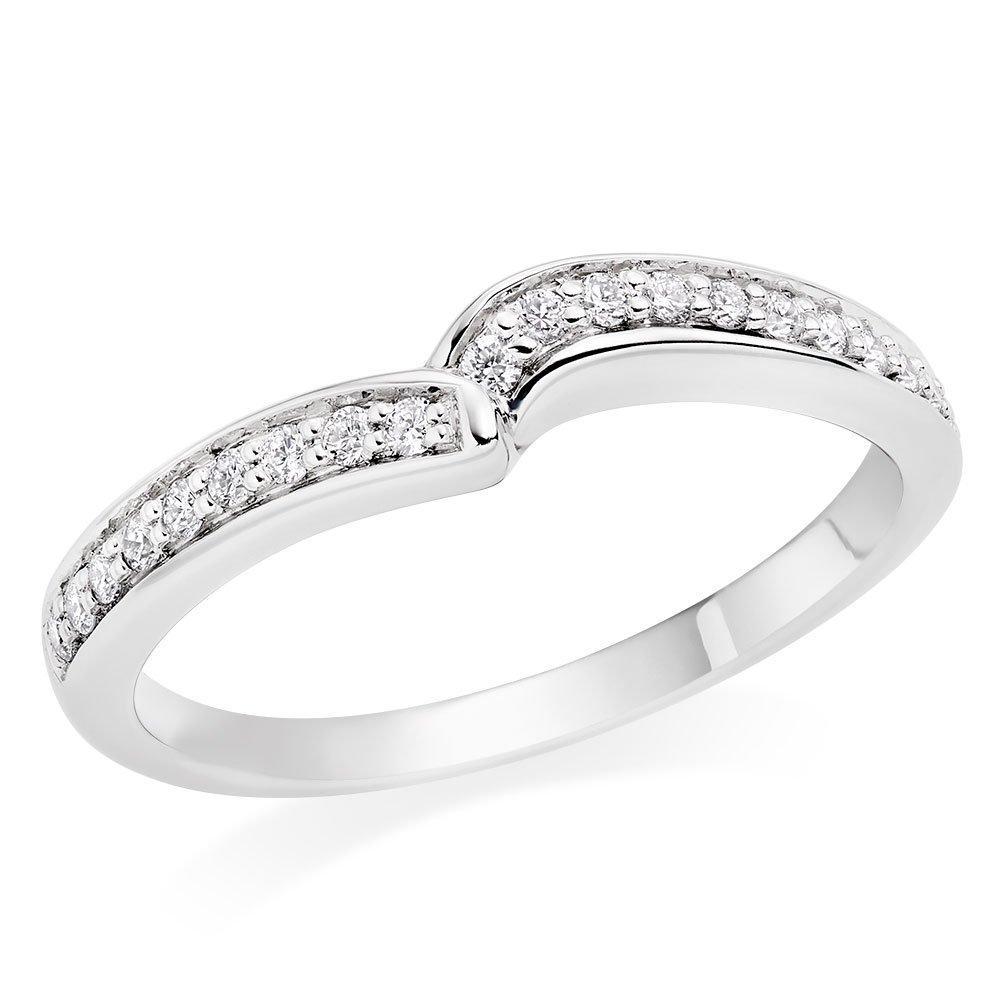 Maple Leaf Diamonds 18ct White Gold Diamond Shaped Wedding Ring