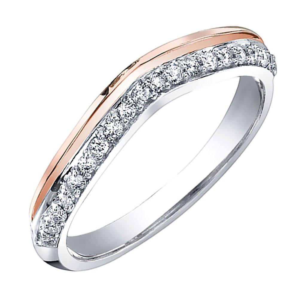 Maple Leaf Diamonds 18ct White Gold and Rose Gold Diamond Wedding Ring