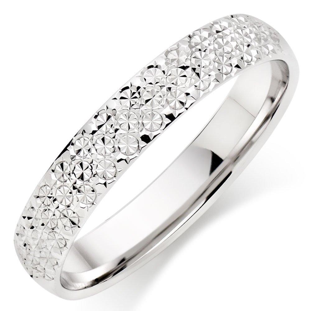 18ct White Gold Sparkle Cut Ladies Wedding Ring