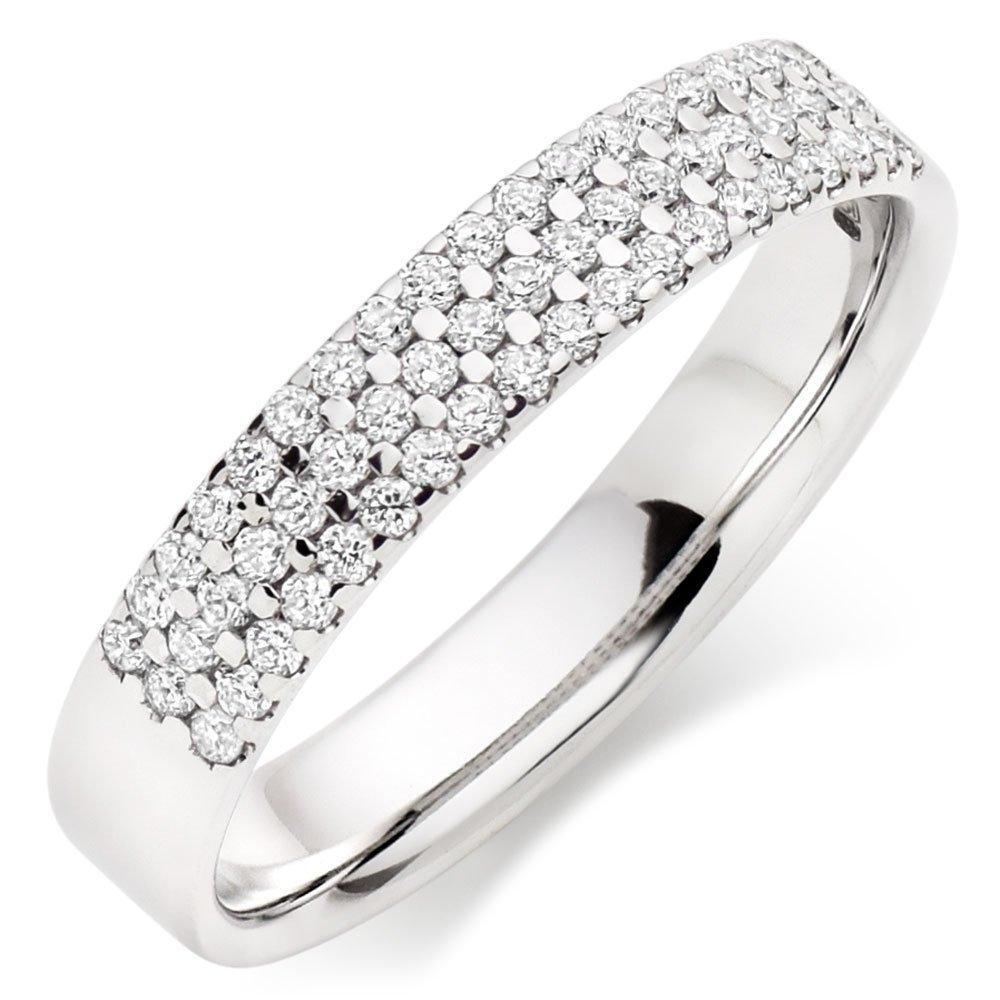 18ct White Gold Diamond Three Row Ladies Wedding Ring