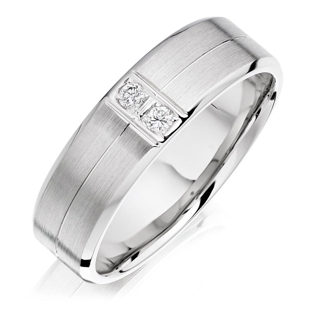Palladium Diamond Men's Wedding Ring