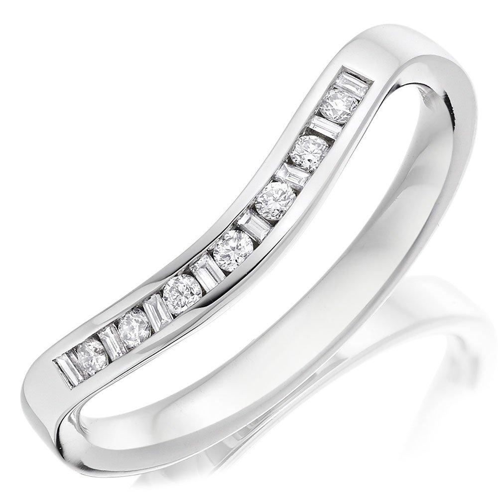 Platinum Diamond Shaped Ladies Wedding Ring