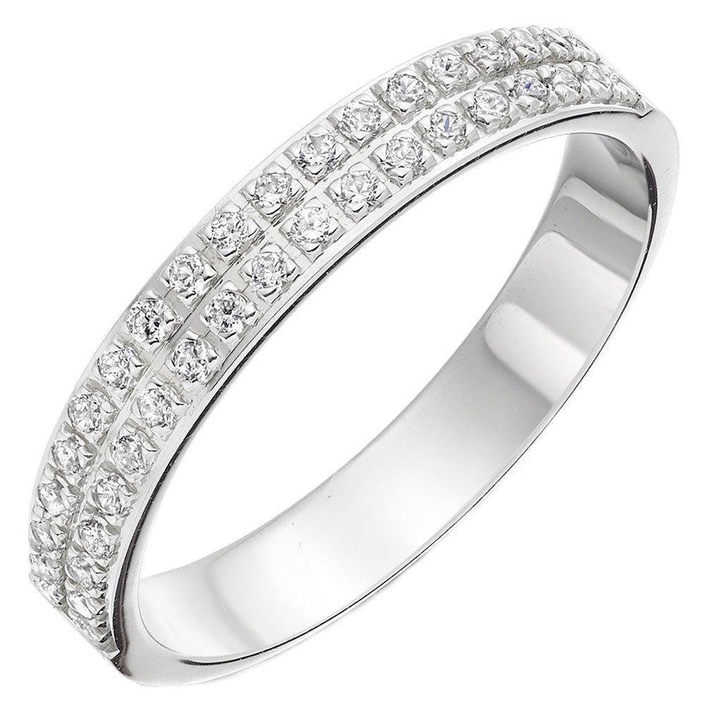 Platinum Diamond Double Row Ladies Wedding Ring
