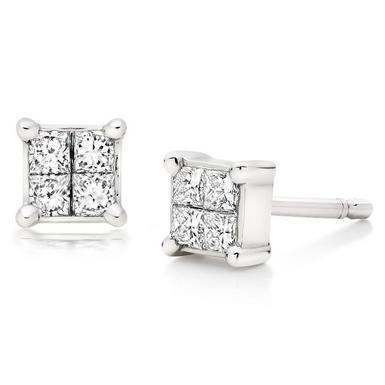18ct White Gold Diamond Stud Earrings